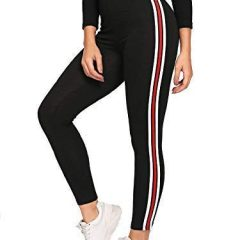 All Comfort Gym wear Leggings Ankle Length Free Size Workout Trousers | White & Red Striped Stretchable Jeggings | High Waist Sports Fitness Yoga Track Pants for Girls & Women (Black)