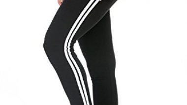 BLINKIN Yoga Gym Workout and Active Sports Fitness Black Stripe Polyester Leggings Tights for Women|Girls(5550) (size-32)
