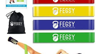FEGSY Resistance Loop Exercise Bands for Squats, Hips, Legs, Butt, Glutes and Heavy Workouts Physical Therapy, Rehab, Stretching, Home Fitness (Set of 5)