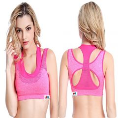 GRAPPLE DEALS Women's Comfort Revolution Workout Fitness Sports Bras Fake Two Pieces Yoga Athletic Gym High Impact Underwire Padded Seamless Strap Racerback. (Pink, Medium)