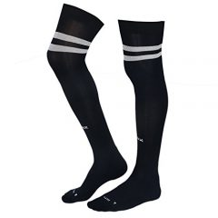 KD Willmax Sports Socks Football Stocking Dry Fast Trainer (Navy Blue, Small) Unisex Knee High Striped Sports Football/Soccer/Hockey Rugby Tube Socks for Men, Women, Boys & Girls