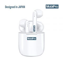 Mobipro { JAPAN } - AIRBUDZ True Wireless In-Ear Earbuds / Earphones / Headphones (Bluetooth V5.0) with 3D Stereo Sound, Double Deep Bass, Voice cancellation, Magnetic Charging Case, Auto Pairing, Compatible with Android & iOS (White).