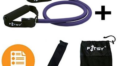 FITSY® Toning Tube Resistance Band for Men Heavy + Door Anchor + Carry Pouch + Workout Chart - Purple