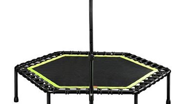 IRIS Fitness 45 inch Mini Trampoline with Adjustable Handrail Handle Bar - Indoor Rebounder for Adults - Best Urban Cardio Workout Home Trainer, Covered Bungee Rope System - Max Limit 120 kgs