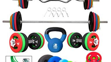 Kakss Professional Gym Training (10 Kg to 200 Kg) Home Gym Set with Exclusive Neoprene Coated Weight Plates; Home Gym Combo with Kettle Bell Bonus Skipping Rope !!! (20 KG)