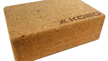 "Kobo AC-55 Yoga Block Cork Wood 9"" x 6"" x 3"" Yoga Exercise Blocks Bricks (Multi Colour)"
