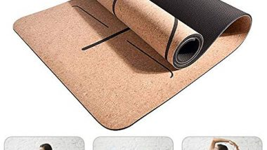 Yoga Mat Made of Natural Rubber and Cork, Vuffuw Eco Friendly Non Slip Fitness Mat, Skin-Friendly, Easy-Care, Pilates Gymnastics Meditation Training for Home, Aerobic, Gym, Workout