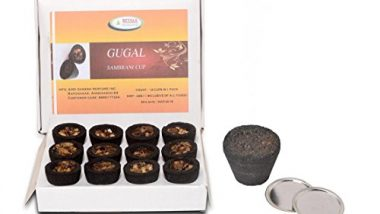 BETALA FRAGRANCE Guggal Sambrani Dhoop Cups in Box with Holder Plate (Brown) 36