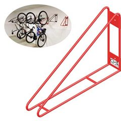 Cycle Stands India Wall Mount Bike Rack (Red Colour) Vertical Bicycle Hanger with Easy and Secure Storage for Space Saving in Garage and congested Areas