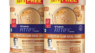 Saffola FITTIFY Gourmet Hi-Protein Slim Meal Shake - Cookies & Cream, 420 gm (Buy 1 Get 1 Free)