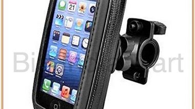 Universal Flexible Big India Mart Waterproof Motorcycle Bikes Bicycle Handlebar Mount Holder Case (Upto 5. 5 inches) for Cell Phone (Black)