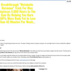 "Breakthrough ""Metabolic Hormone"" Trick For Men Replaces 5,000 Hours In The Gym By Helping You Burn 450% More Body Fat In Less Than 45 Minutes Per Week..."
