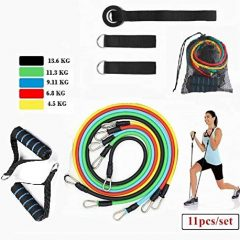 NIRVA WITH DEVICE OF WOMEN PICTURE Resistance Bands, Exercise Bands Include 5 Different Levels Exercise Bands, Door Anchor, Foam Handles and Carrying Bag for Workout Resistance Tube