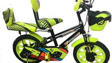 """Rising India 14"""" Cartoon Character Double Seated Kids Bicycle for 3-5 Years Black and Floral Green Semi Assembled"""