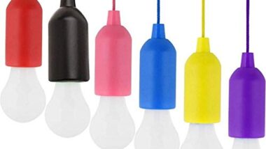 SGS IMPEX Creative Tug Stretch Pull to Turn on/OFF Portable Hanging String Rope LED Bulb Indoor Outdoor (Random Color)